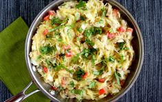 Spaghetti Squash With Basil and Creamy Cauliflower Alfredo Sauce #vegan #cauliflower #spaghetti-squash