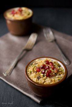 Curried Pomegranate Pistachio Quinoa - Here at Eat This, Not That!, we're kind of obsessed with quinoa. After all, the mighty grain is a complete protein, which means it has all the essential amino acids, in addition to packing in an exceptional amount of belly-filling fiber. Pop in some pomegranate and pistachios into this superfood bowl and you've got yourself an ideal meal.  Get the recipe from Savory Simple.