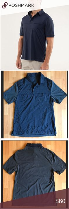 Lululemon Men's Move Polo $99 size M Lululemon Move Polo $98 Color Inkwell size M. No stains or marks- 1 small abrasion at front lower left, see photo. The wind and water-resistant Commuter Stretch Woven fabric body helps protect us from light Spring showers. It also doubles as a golf shirt when we're ducking out early to hit the back nine.  * lightweight w/a wind & water-resistant body  * flat seams  * preshrunk for: cycling, golf, to-and-from  * fabric(s): Commuter Stretch Woven, Vitasea®…