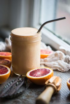 The classic Orange Julius, a frosty, creamy drink just got a totally healthy makeover with added protein, whole fruits, and healthy fat.