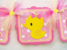Duck Baby Shower Banner | Rubber duck baby shower banner, its a girl, pinks and yellow - READY ...