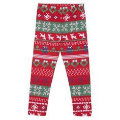 Infant Toddler Girls' Reindeer Fair Isle Holiday Legging - Red