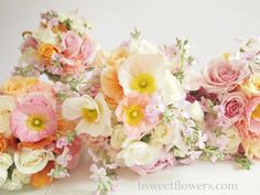 Flowers bouquets wedding pastel roses