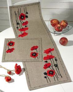 "Poppy Table Runner (Linen) - Cross Stitch Kit ""Poppy Table Runner (Linen) - C"", ""Cross Stitch Supplies from ABC Stitch Therapy"" Counted Cross Stitch Kits, Cross Stitch Embroidery, Cross Stitching, Embroidery Patterns, Hand Embroidery, Burlap Table Runners, Quilted Table Runners, Cross Stitch Designs, Cross Stitch Patterns"