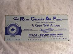 RCAF Royal Canadian Air Force Recruiting Ink Blotter Vintage Mid Century 1950's