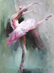 Ballerina Oil Paintings - Swan Lake 2 by Nelya Shenklyarska