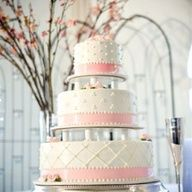 White and Pink Tiered Wedding Cake