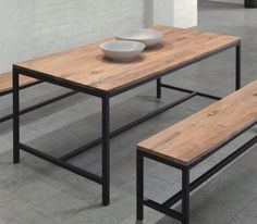 Iron Wood Dining Table Industrial Vintage Antique Metal Country Reclaimed Cabin   eBay