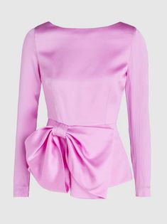 Discover the Bow-Detailed Silk Peplum Top by SAFiYAA at The Modist. Shop the range today and discover Haute Couture Trends, Modest Fashion, Fashion Outfits, Formal Tops, Satin Midi Dress, Bow Tops, African Fashion, Peplum, Trending Outfits