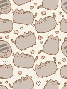 cat, pusheen, and wallpaper