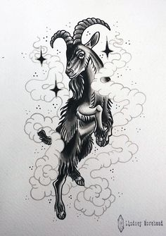 """Wouldst thou like to live deliciously?"" -Black Phillip (The VVitch)  tattoo flash by Lindsey Morehead at Donovan's Autumn Moon Tattoo in Anaheim, CA"