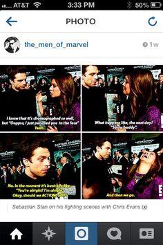 Sebastian Stan on his fight scenes with Chris Evans.