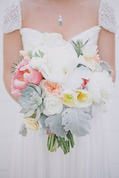 Peony, garden rose and succulent bridal bouquet | Photo by Edyta Szyszlo Photography | Read more http://www.100layercake.com/blog/?p=78534 #acehotel #palmsprings #wedding