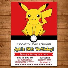 Delightful Pokemon Pikachu Invitation   Pokemon Pikachu Invite    Pokemon Pikachu  Birthday   Pokemon Pikachu Party Favors