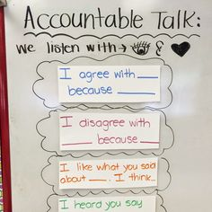 Do your students practice accountable talk? These sentences stems help students listen and respond appropriately and respectfully to one another in class.
