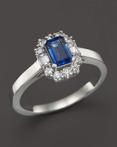 Bloomingdale's Sapphire and Diamond Ring in 14K White Gold - 100% Exclusive