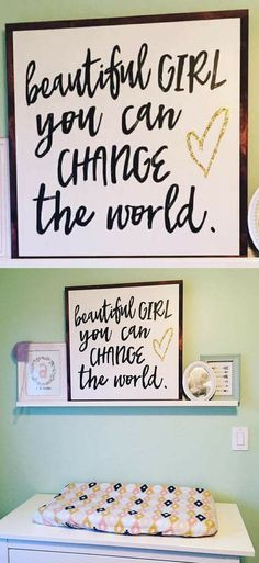 "Great for a nursery.. or even as a gift for a graduate! Beautiful girl you can change the world 24x24"", glitter gold heart or glitter silver heart, Nursery decor, baby girl nursery wall art, Farmhouse nursery decor, Farmhouse sign, Rustic decor, Rustic sign, home decor, graduation gift idea #ad"