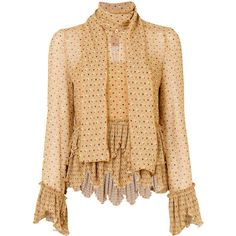See By Chloé keyhole scarf blouse ($369) ❤ liked on Polyvore featuring tops, blouses, brown, ruffle blouse, brown cami, long sleeve tops, beige long sleeve blouse and brown camisole