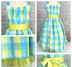 2abde768e Dollie And Me Dress Girl Sz 7 Spring Green Yellow Sleeveless Special  Occasion