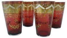 One Kings Lane - Bohemian Rhapsody - Painted Bohemian Tumblers, Set of 4