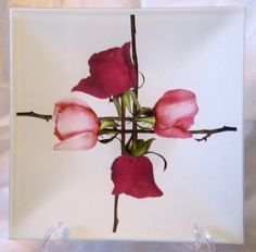 Decorative Dishes - Big Art Glass Red Pink Roses Buds Square Tray, $29.99 (http://www.decorativedishes.net/big-art-glass-red-pink-roses-buds-square-tray/)