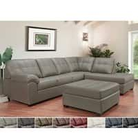 Emerson Top Grain Leather Tufted Sectional Sofa and Ottoman - 124 x 84 x 38 x 38 (Chestnut Brown - Left Facing) Tufted Sectional Sofa, Reclining Sectional, Tufted Ottoman, Corner Sectional, Leather Ottoman, Leather Sectional, Oversized Sectional Sofa, Land Scape, Living Room Furniture