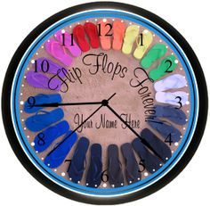 Flip Flops' Colors Wall Decor Art Clock For The Bedroom / Bathroom / Condo / Beach HouseSimplySouthernGift, $15.99