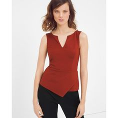 White House Black Market Asymmetric Hem Bodice Top ($78) ❤ liked on Polyvore featuring tops, fitted tops, asymmetrical sleeveless tops, red peplum top, red sleeveless top and peplum tops