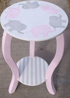 "Nursery Table 15"" Elephants Pink Gray KIDS WHITE Elephants Custom Round Night stand End Table Nursery Table ELEPHANTS  Baby Bedding Match"