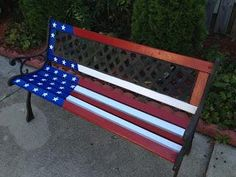 Love this Patriotic Painted Bench! I have a very similar bench in need of a make… Love this Patriotic Painted Bench! I have a very similar bench in need of a makeover. Home Crafts, Fun Crafts, Painted Benches, Birdhouse Designs, Michael S, Class Design, Diy Craft Projects, Project Ideas, Red White Blue