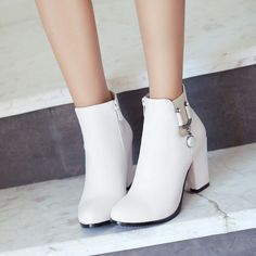 Black And White Heels, White Boots, Black Booties, High Heel Boots, Heeled Boots, Ankle Boots, Top Shoes, Cute Shoes, Kawaii Shoes