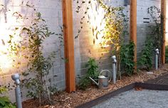 cable/cedar trellis with steel edging and industrial lighting