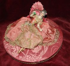 RARE WONDERFUL DRESSEL & KISTER RECLINING DRESSED PIN CUSHION / HALF DOLL