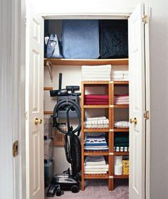 Your Ultimate Closet Organizer - hall closet? wine supplies on top shelf, shelves would work well for supplies, room for the mop, etc. Linen Closet Organization, Organization Hacks, Organizing Ideas, Storage Closets, Closet Shelving, Ikea Shelves, Wardrobe Storage, Wooden Shelves, Bedroom Storage