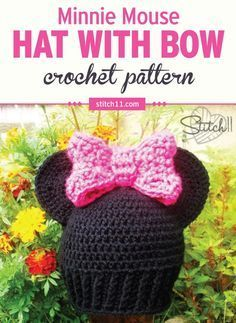 Such a lovely, and easy to crochet Minnie mouse hat pattern, easy to get to, worth the click. This Minnie Mouse Hat Crochet Pattern is perfect for little ones who are big fans of Miss Minnie Mouse. Crochet Bow Pattern, Disney Crochet Patterns, Crochet Disney, Crochet Bows, Crochet Baby Hats, Cute Crochet, Crochet Crafts, Crochet Ideas, Modern Crochet