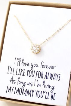 "Mother's Day Solitaire Necklace ""I'll love you forever, I'll like you for always, As long as I'm living my mommy you'll be"" - love this gift for Mom"