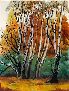 #Muriel #Pemberton Birch trees - #Richmond #Park  Signed, Inscribed Richmond Park November 11th #modernart #British #art #modern #LLFA #trees