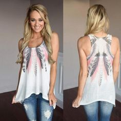 >> Click to Buy << 2017 Summer Female T-shirt Feather Sleeveless T-Shirts Harajuku Bts Tumblr Tops Casual T-Shirts for Women Plus Size #Affiliate
