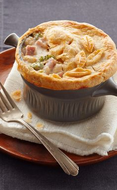 Ham & Cheese Pot Pie — Warm ham and cheese go together like broccoli and cauliflower. And we've put that in the mix, too. Our hearty, creamy pot pie looks restaurant-worthy and tastes even better.