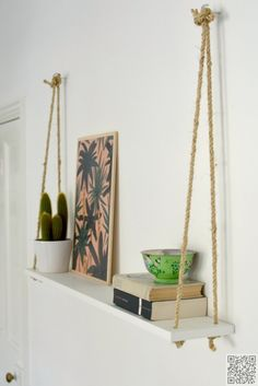 36. Rope #Shelf - Shelfies: the Best DIY #Shelves ... → DIY #Corner