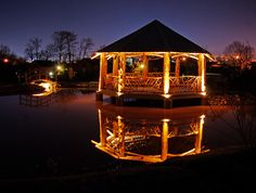 log-cabins:    Picture yourself spending the evening in this rustic gazebo with nothing to disrupt the quiet except the splash of an occasional fish.