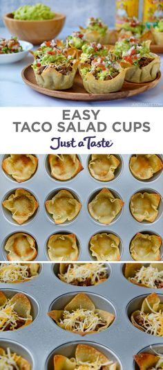 Party-friendly Easy Taco Salad Cups star ground beef with taco seasoning, cheese, and a dollop of guacamole and salsa. They're the perfect handheld party food! Taco Appetizers, Appetizers For Party, Appetizer Recipes, Easy Dinner Party Recipes, Mexican Dishes, Mexican Food Recipes, Salades Taco, Guacamole, Snacking