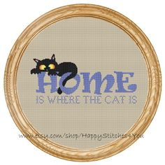 Cross Stitch Pattern PDF cat home is where by HappyStitches4You