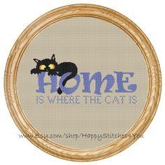 Cross Stitch Pattern PDF cat home is where di HappyStitches4You