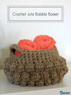 Jute Bobble Crochet Basket Pattern