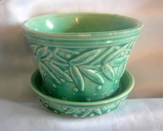 Signed McCOY Small Turquoise African Violet or Succulent Flower Pot Planter | Vintage Mid Century Circa 1950s