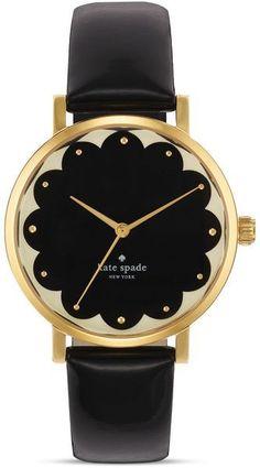 Kate Spade Scallop Black Metro Watch 34mm in Black | Lyst