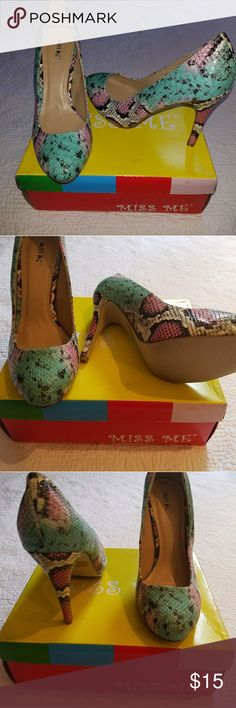 Snake skin print pink and green pumps! Size 8.5 Snake skin print pink and green pumps! Size 8.5, never worn. Miss Me Shoes Heels