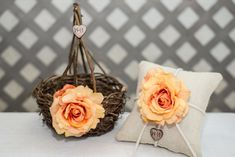 Peach Rose Twig round personalized wedding medium flower girl basket and ring bearer pillow / http://www.deerpearlflowers.com/twigs-and-branches-wedding-ideas/