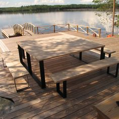 We made this planktable with benches to summer cottage in Kontiolahti Outdoor Tables, Outdoor Spaces, Outdoor Decor, Saunas, Boathouse, Lake Life, Benches, Interior Inspiration, Outdoor Gardens